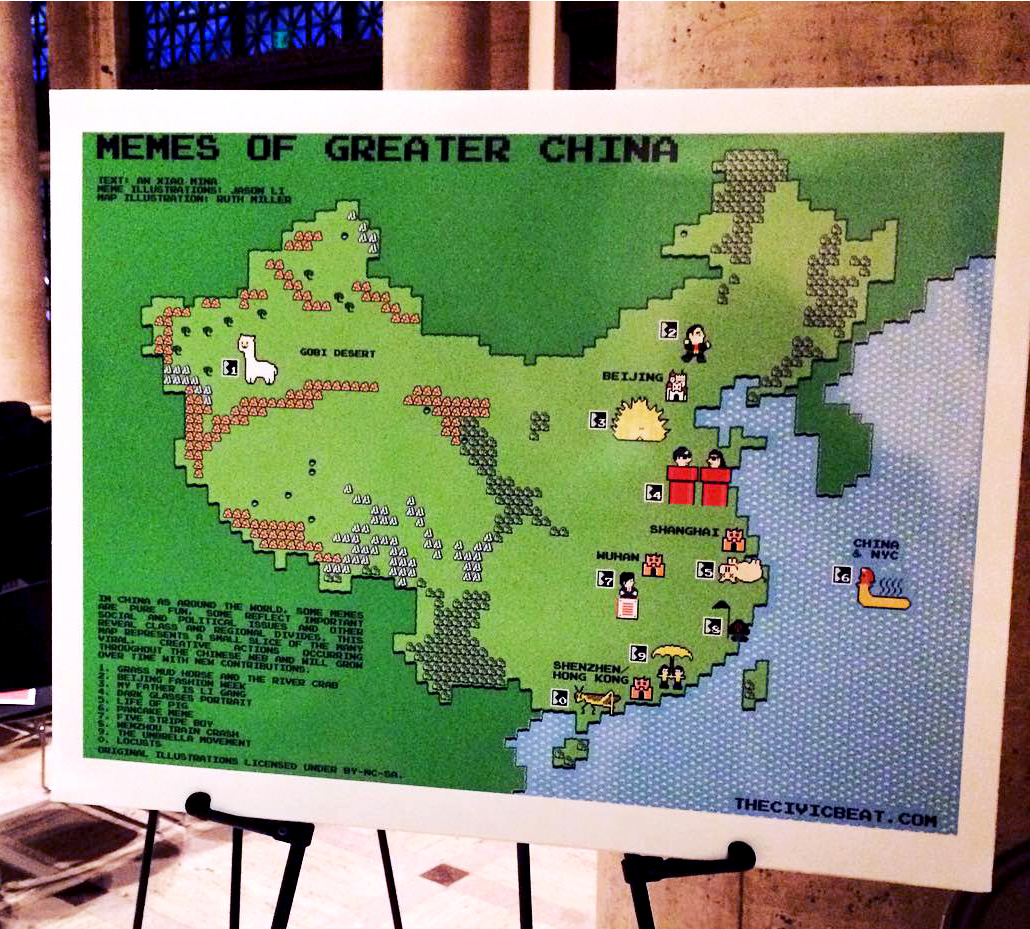 A map illustration titled Memes of Greater China with various pixel art characters and creatures printed and placed on an easel in front of a stone building background