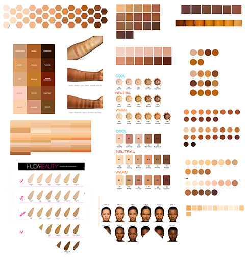 Screenshot of skin tone palettes copied and pasted from cosmetic company websites