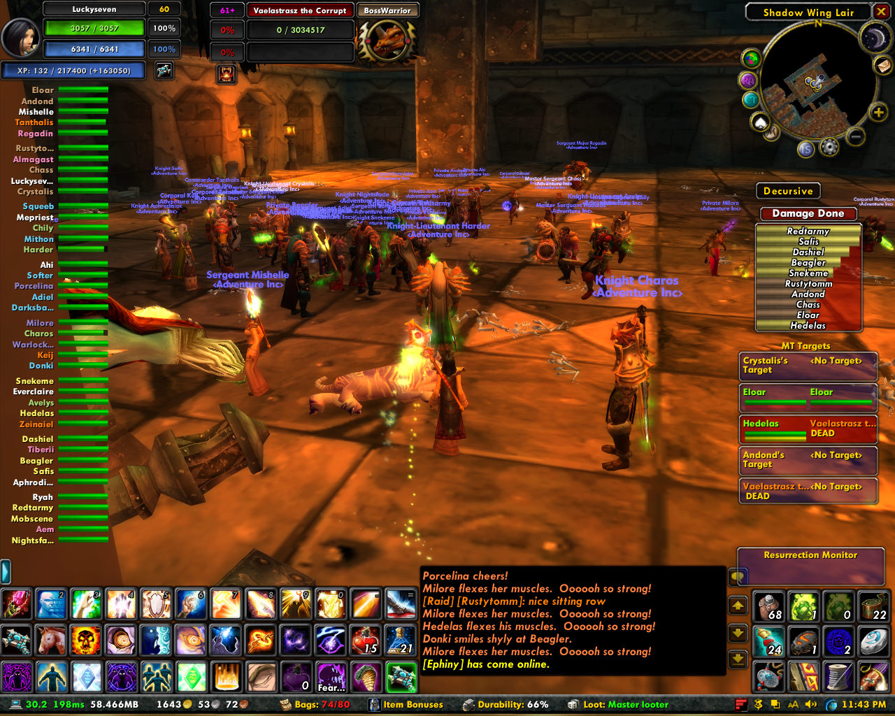 Screenshot of a customized and even busier World of Warcraft UI