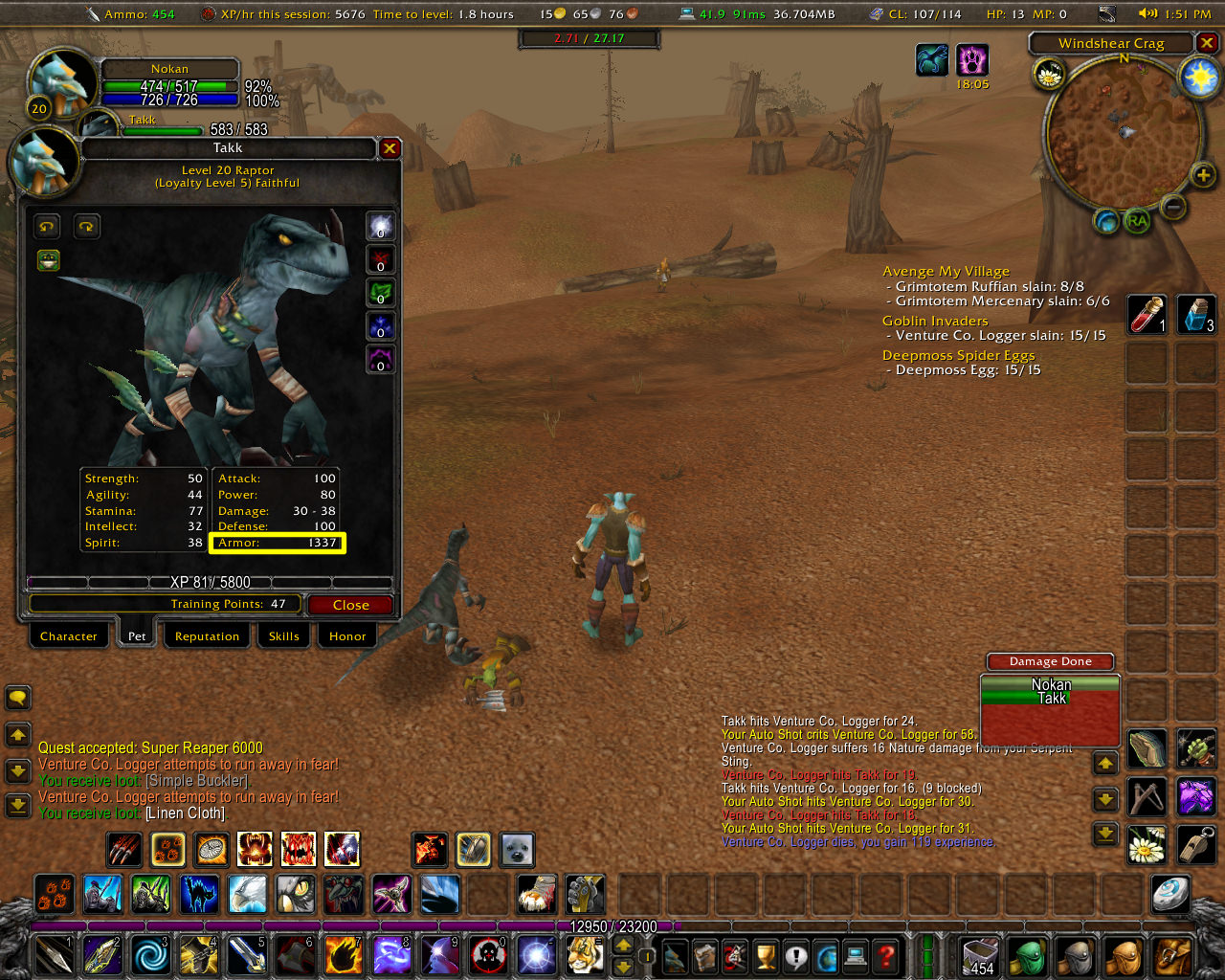Screenshot of the busy World of Warcraft UI with buttons lining the edges of the screen and a pop-up window laid over a 3D world with multiple characters
